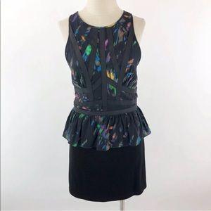 Charlie Jade Abstract Silk Sheath Peplum Dress